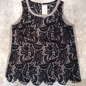 Black Lace and Taupe Satin Tank